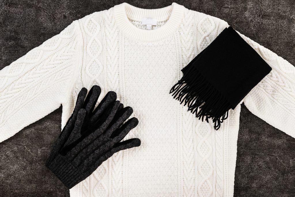 男性 マフラー 手袋 ニット