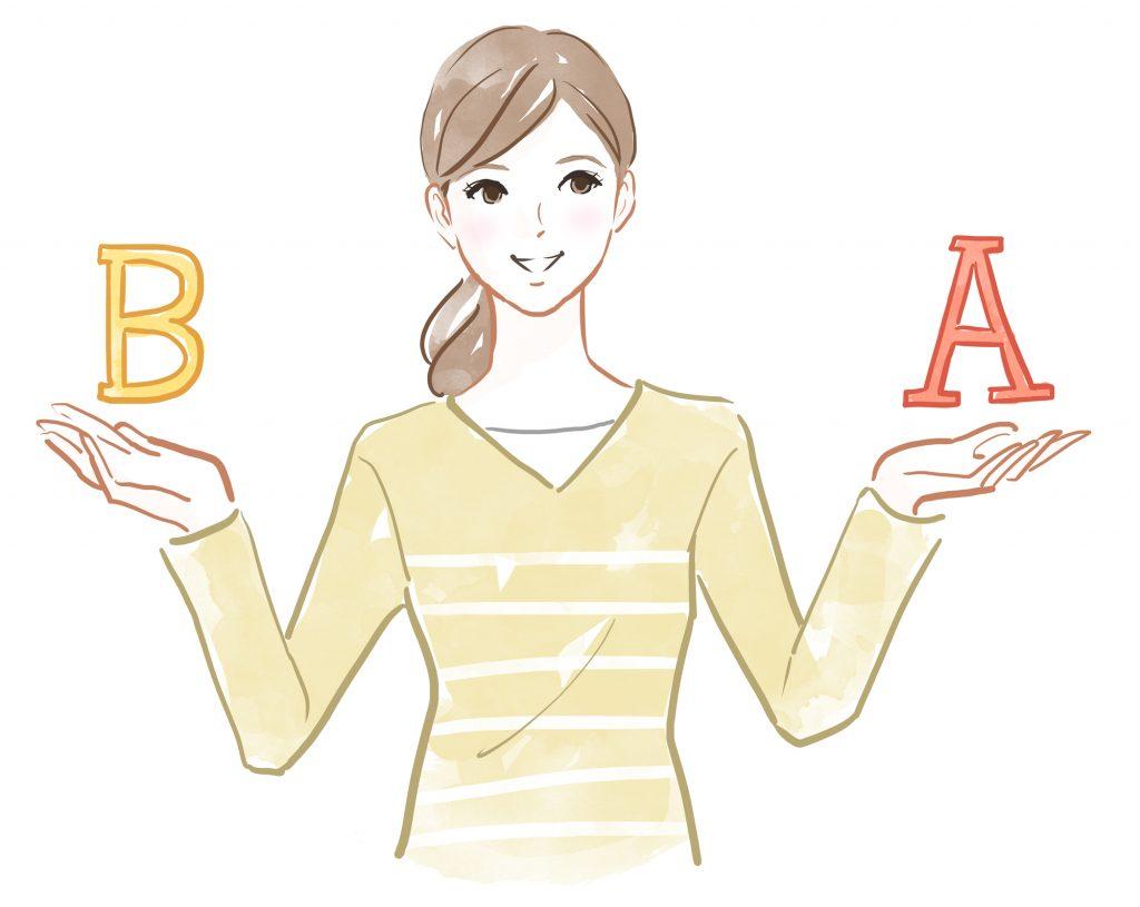女性 A B 比較