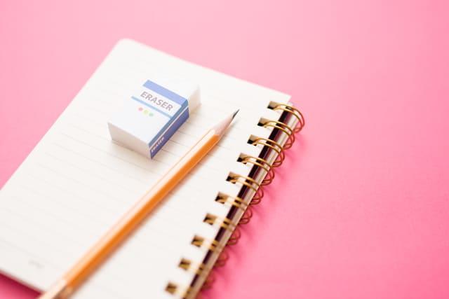 ピンク メモ帳 鉛筆 消しゴム